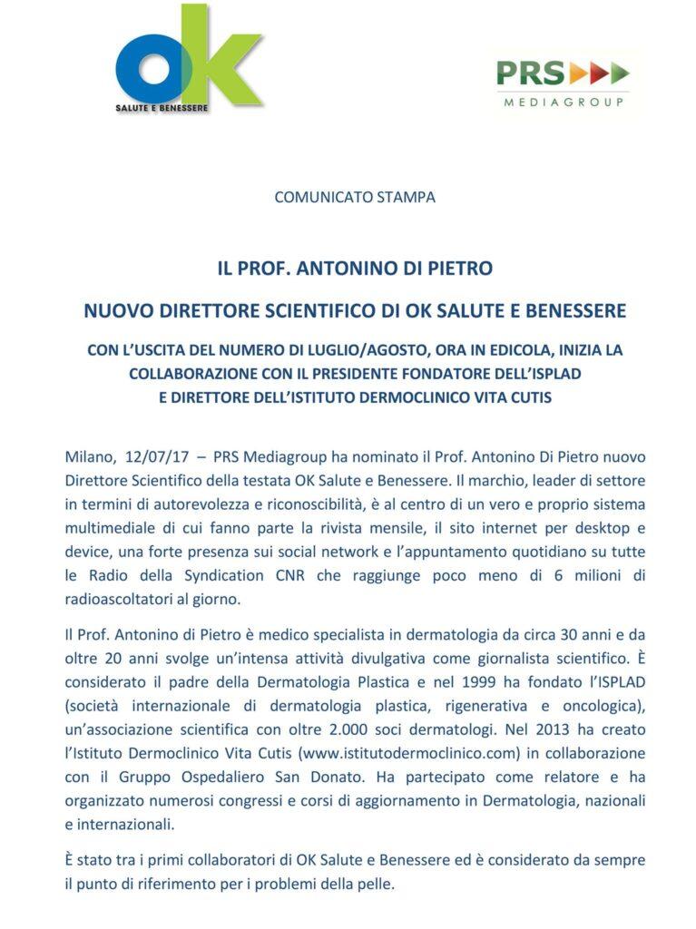 Il Prof Di Pietro E Il Nuovo Direttore Scientifico Di Ok Salute E Benessere Istituto Dermoclinico Vita Cutis