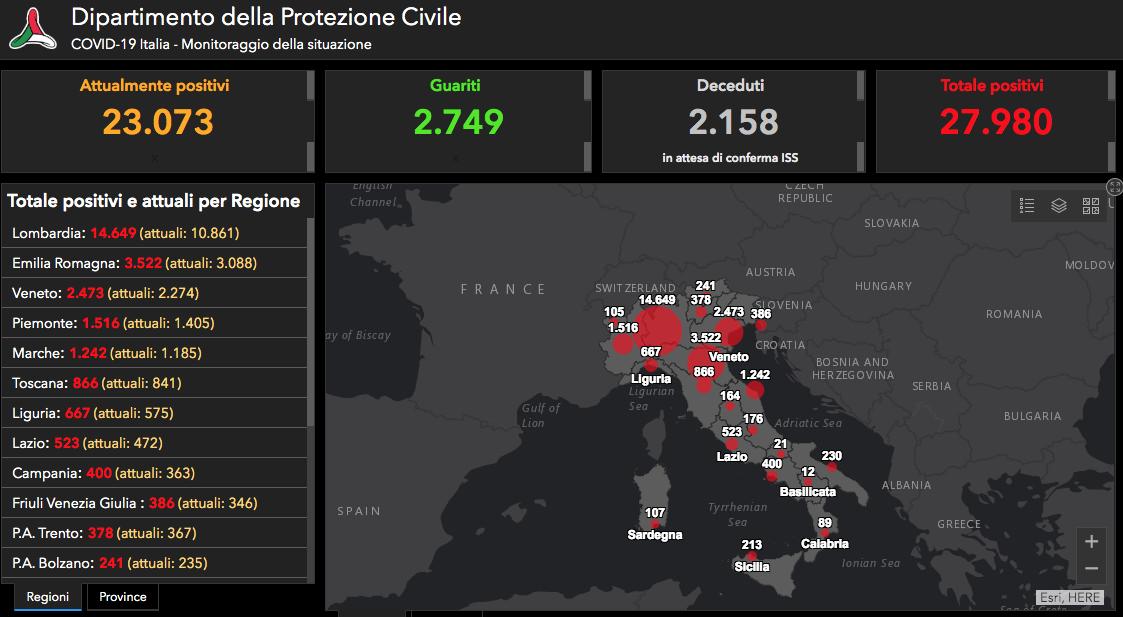 Diffusione del contagio coronavirus in italia